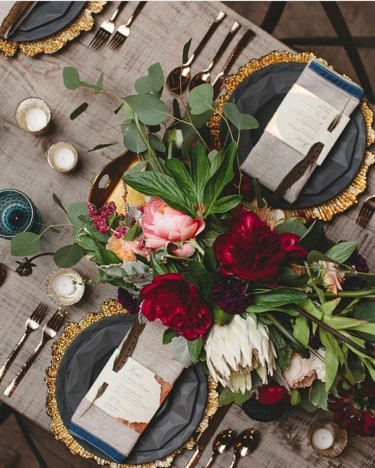 Photo of Rustic wedding red gold charcoal palette