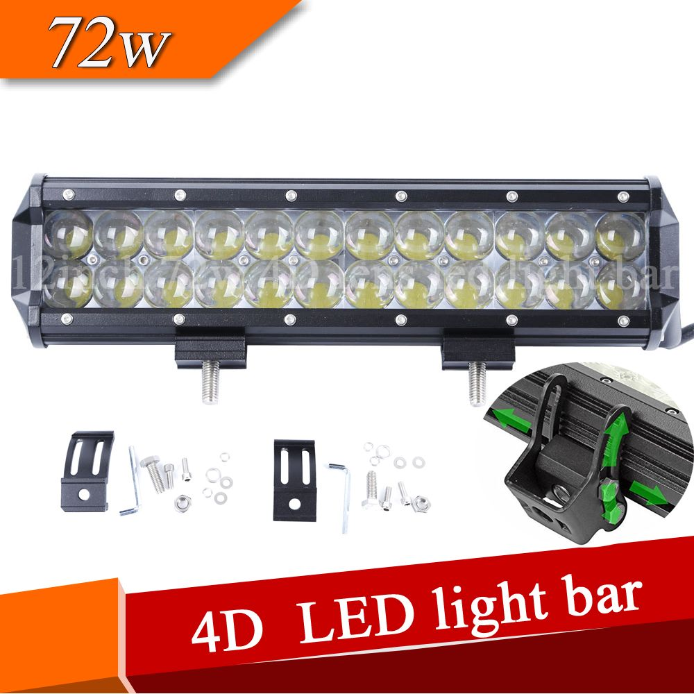 4d Lens Led Light Bar Dual Row 12 Inch 72w Led Light Bar For Offroad Truck Atv 4x4wd 36w 54w 72w 126w 144w Auto L With Images Bar Lighting Led Light