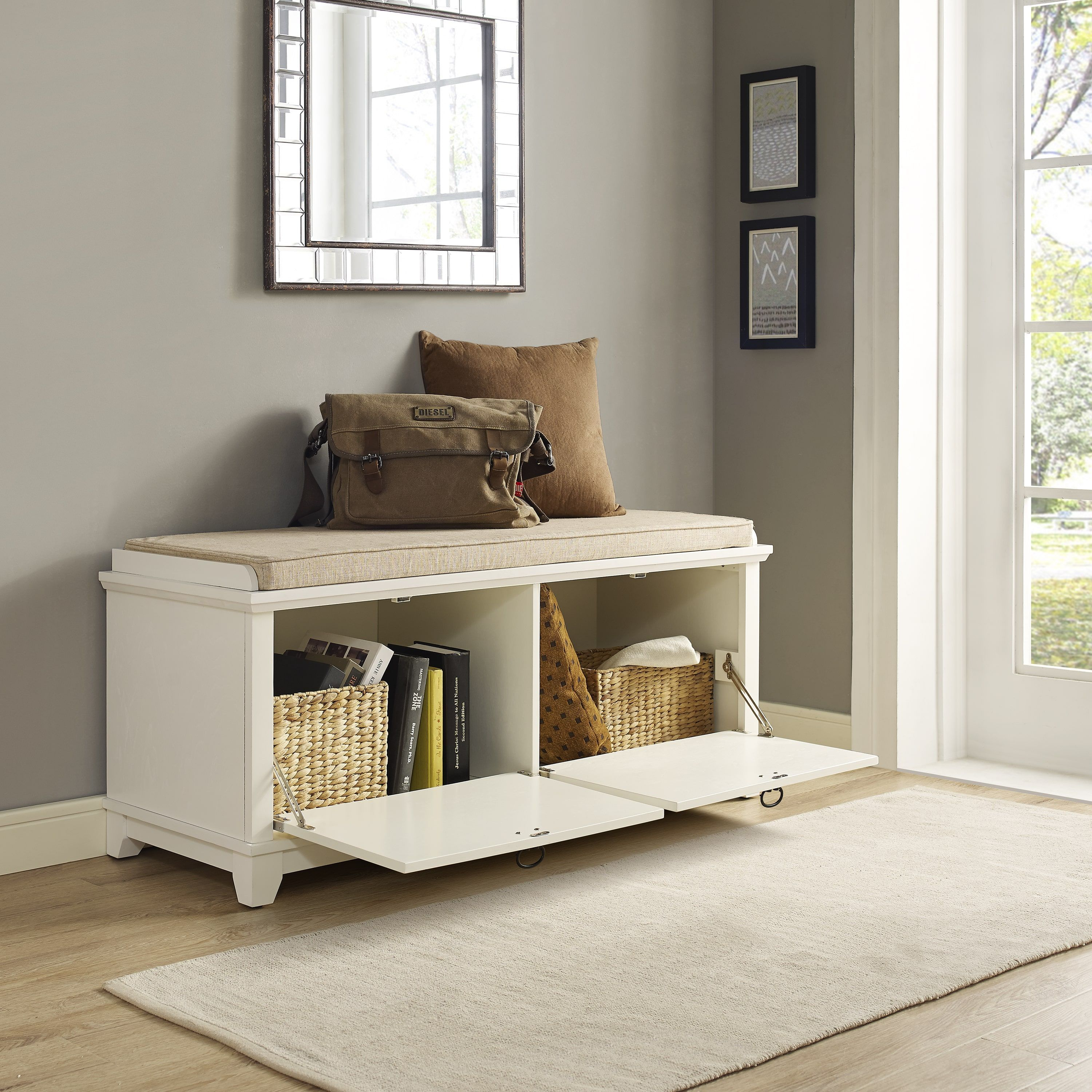 Remarkable Adler White Entryway Bench Home Entryway Ideas Pdpeps Interior Chair Design Pdpepsorg