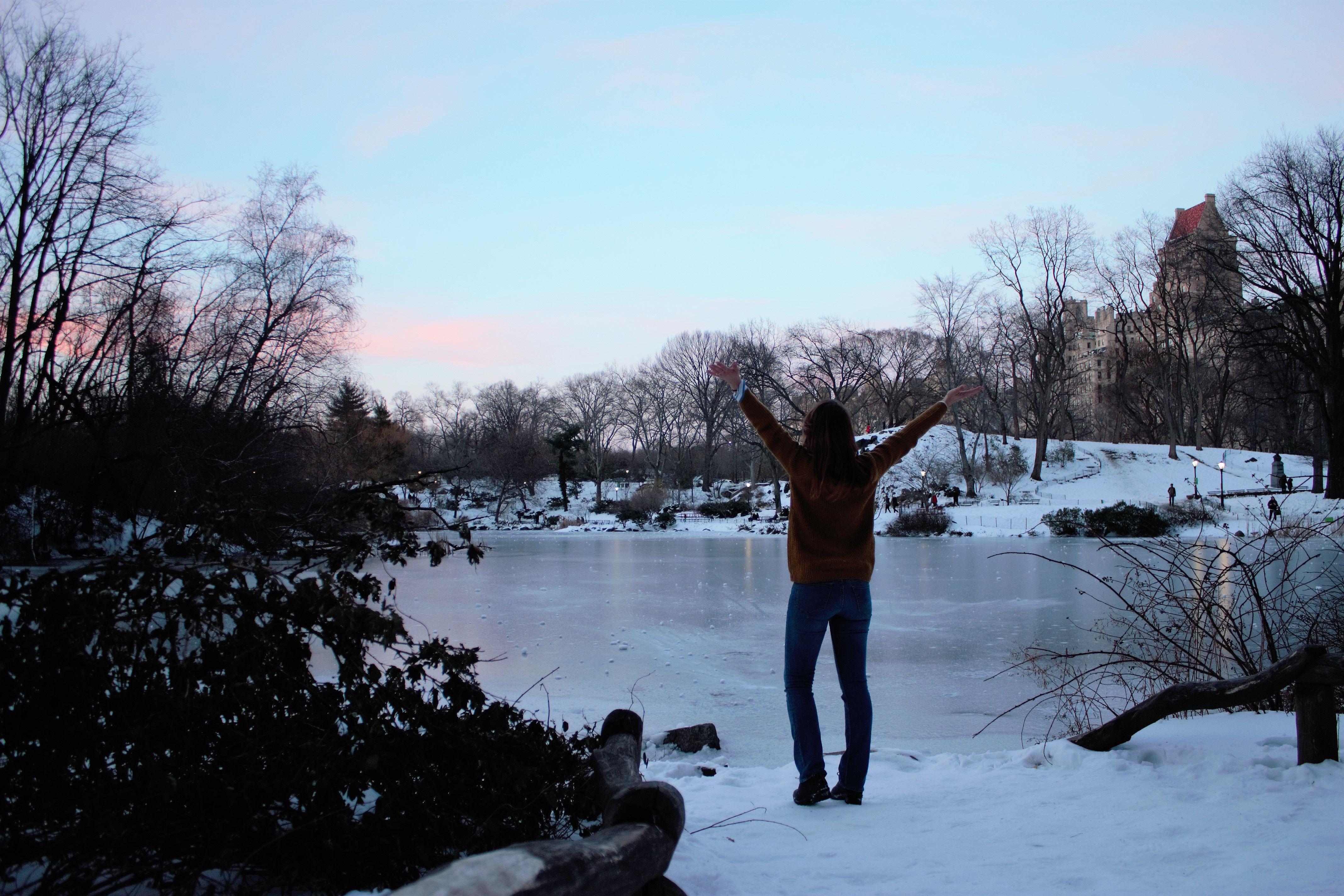 Nieve sobre Central Park. New York, El lago queda puro hielo. 16|03|2017