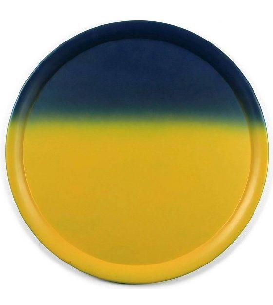 vtwonen Dienblad tye & dye metaal blauw/geel Ø53cm - wonenmetlef.nl