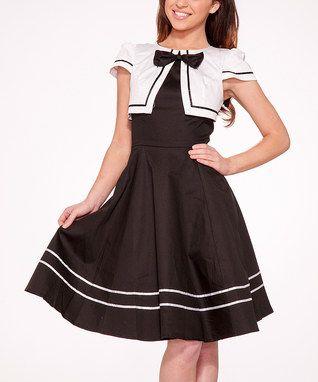 Black & White Nautical Cap-Sleeve Dress - Women & Plus ...