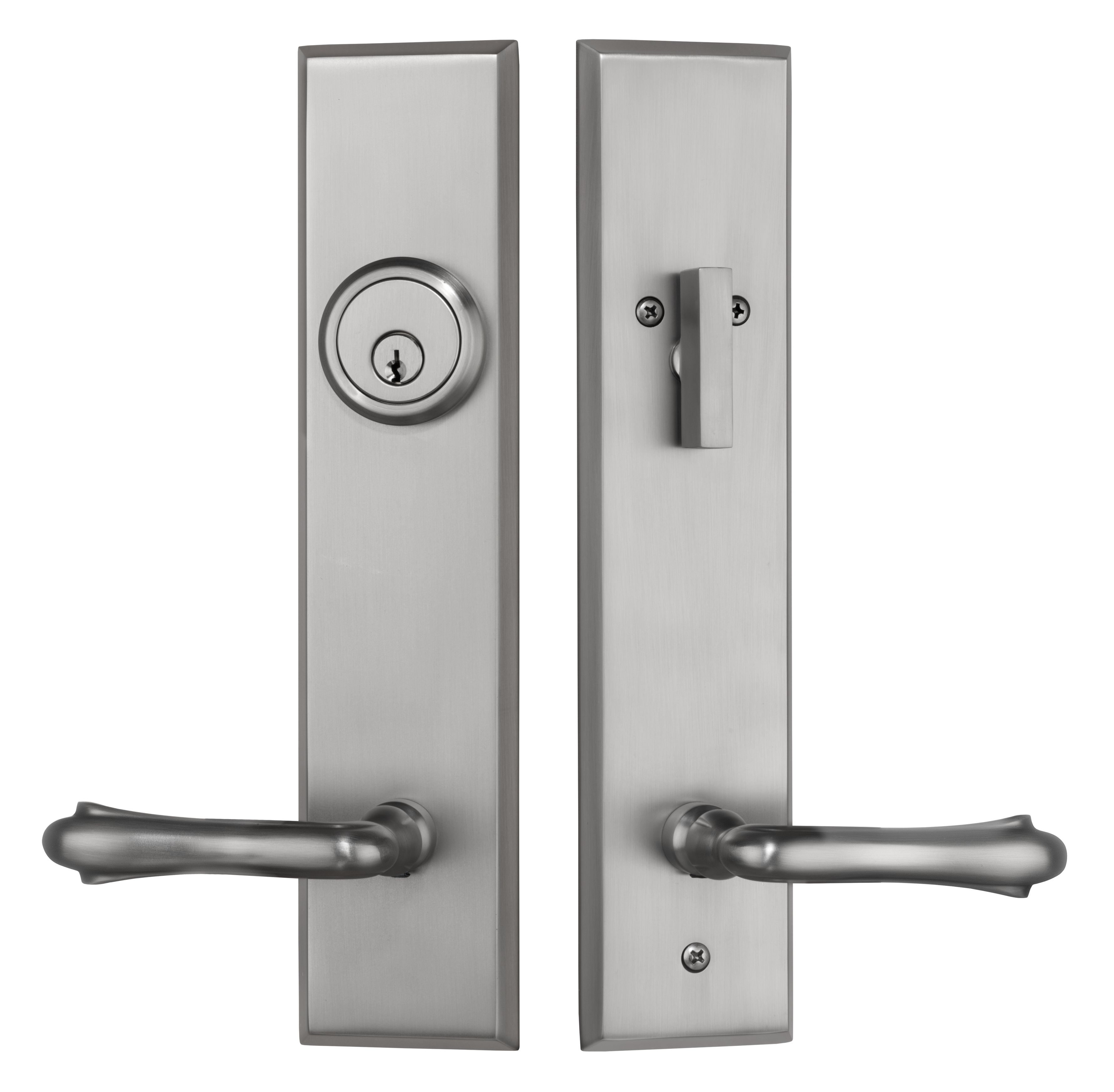 Rockwell Verano Entry Door Handle Set With Bourne Lever In Brushed Nickel Finish Rockwell Security Door Handles Modern Door Handles Single Cylinder Deadbolt