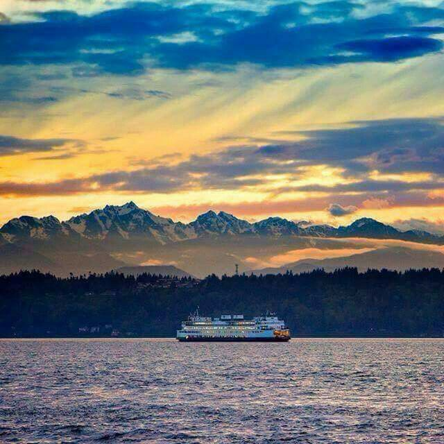 View Of The Olympic Mts A Ferry On The Puget Sound Mountain