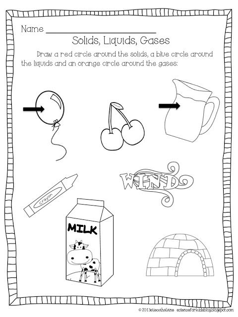 Science For Kids Solids Liquids Gas States Of Matter Worksheet Matter Worksheets Solid Liquid Gas
