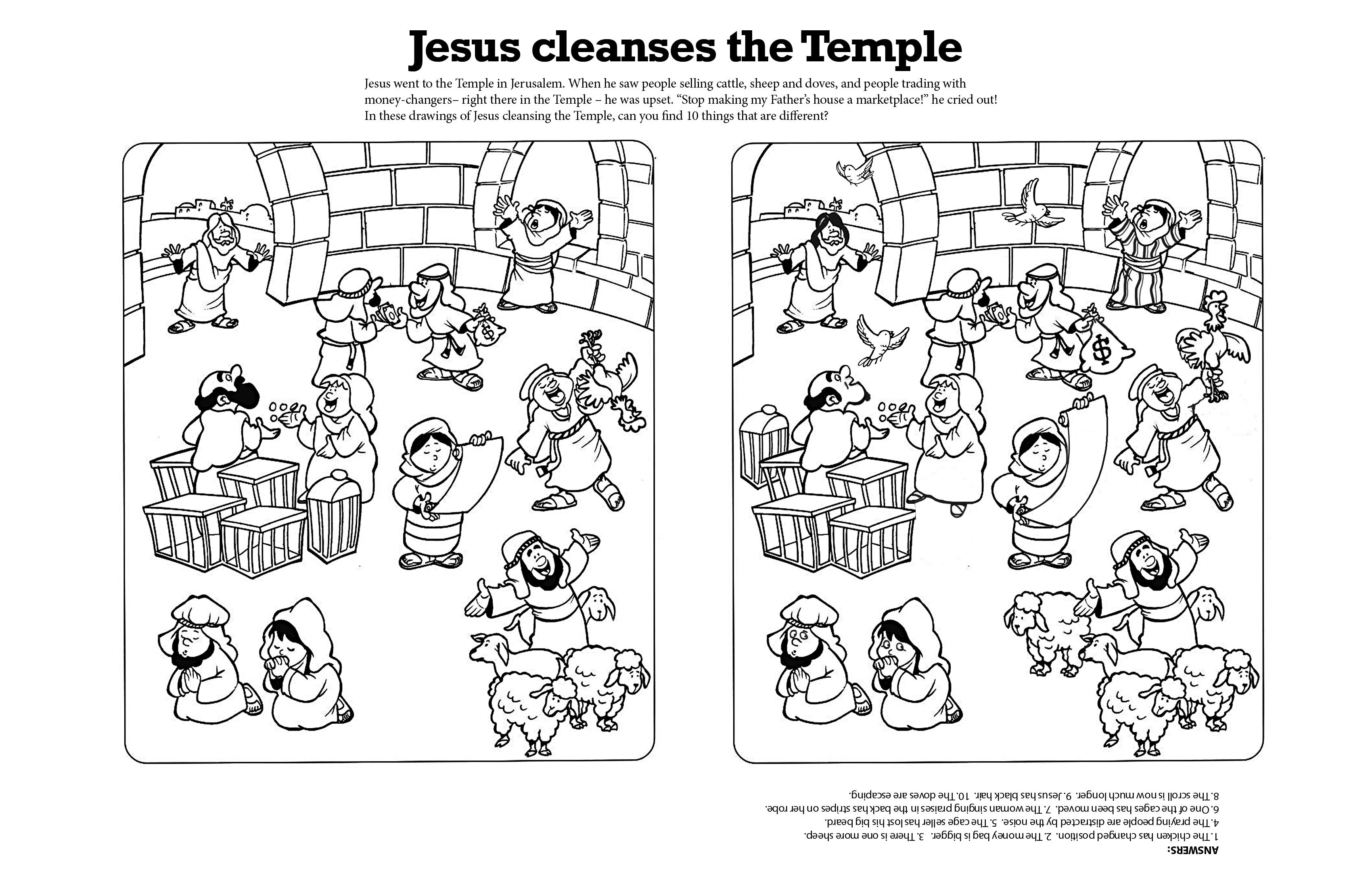 Jesus Cleanses The Temple A Spot The Differences Page For