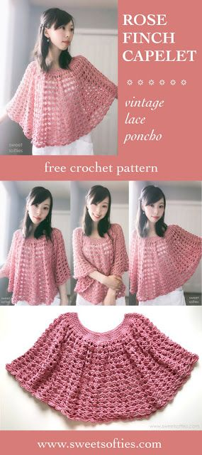 Sweet Softies   Amigurumi and Crochet: Rose Finch Capelet, a Vintage Lace Poncho (Free Crochet Pattern)