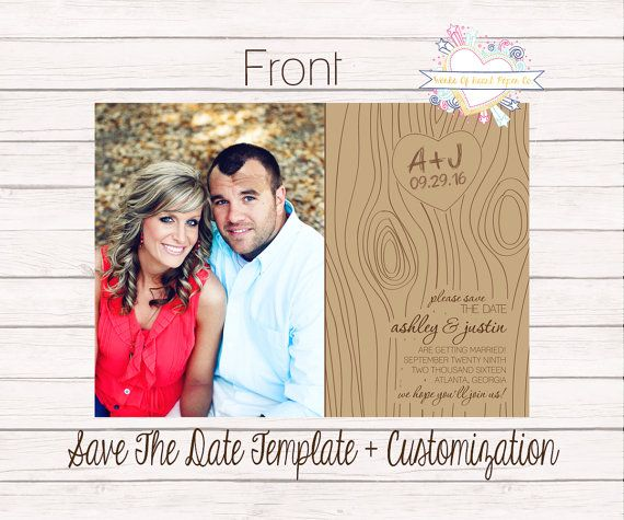 Rustic Chic Two Sided Save The Date By Worksofheartpaperco On Etsy