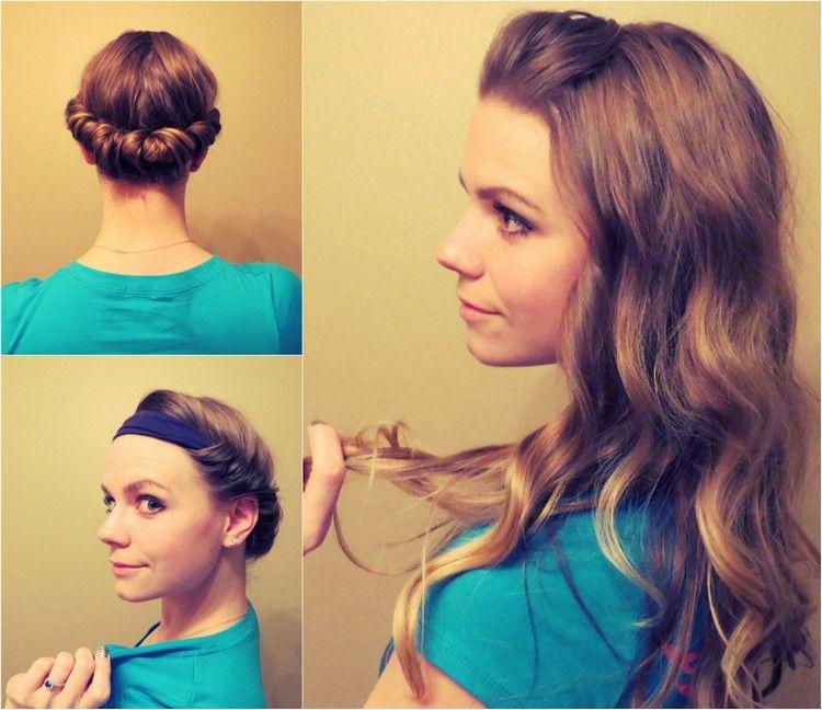 Coole Locken Mithilfe Eines Haarbands Bekommen Lockige Frisuren Haare Stylen Haare Eindrehen