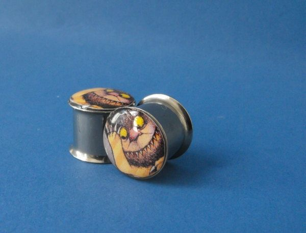 Carroll Where the Wild Things Are picture plugs gauges embedded resin filled - Made to Order Size 00. $15.00, via Etsy.