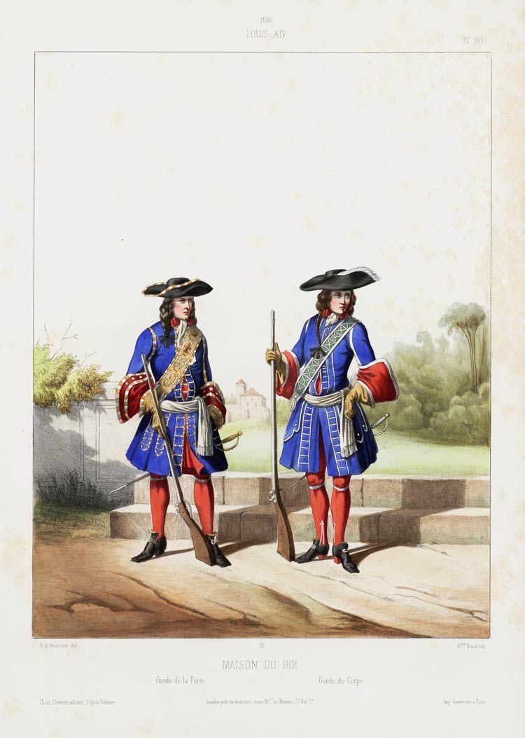 1688 louis xiv maison du roi garde de la porte garde du corps uniforms pinterest 17th. Black Bedroom Furniture Sets. Home Design Ideas