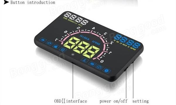 E350 5.8 Inch Multi-color Car HUD Head Up Display Apply for OBD2 and EUOBD