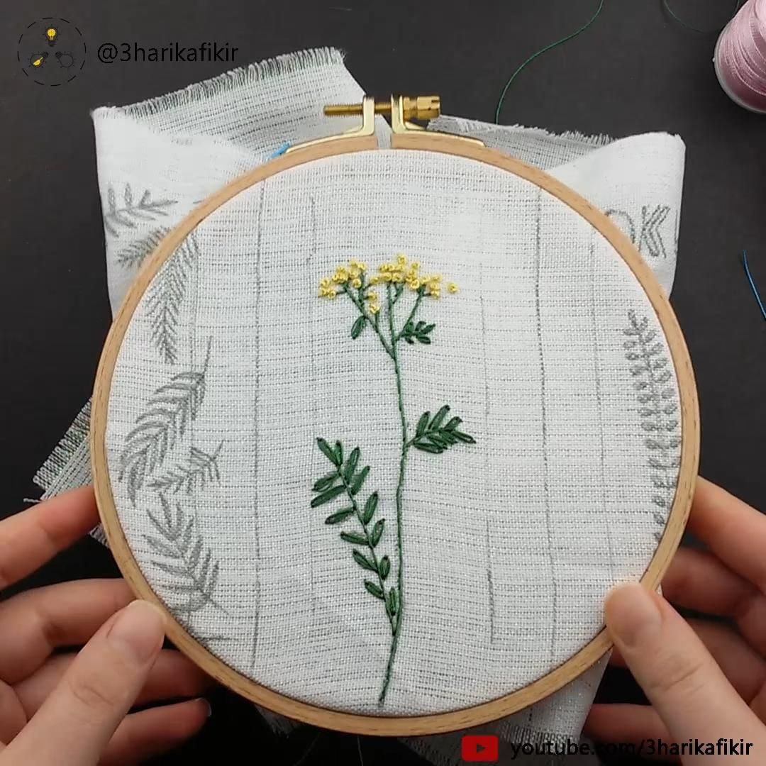 Embroidery Yellow Flowers – Embroidery for Beginner – Kanaviçe – Sticken
