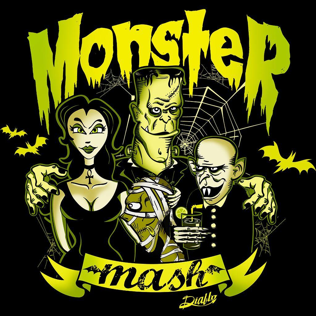 """Un homenaje a los monstruos del cine de terror clásico y a la canción de Rock """"Monster Mash"""" de Bobby """"Boris """" Pickett y versionada por Misfits. En ella vemos a un vampiresa sexy, una momia, un vampiro tipo Nosferatu y al monstruo del Dr. Frankenstein.  http://www.diablocamisetas.com/es/"""
