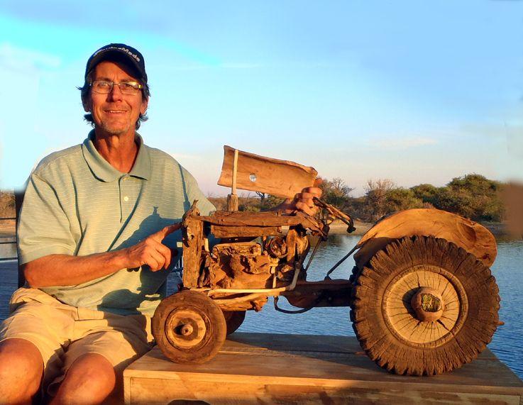 """Tony with the """"Vaal Japie"""" Afrikaans tractor openskywoodart.com"""