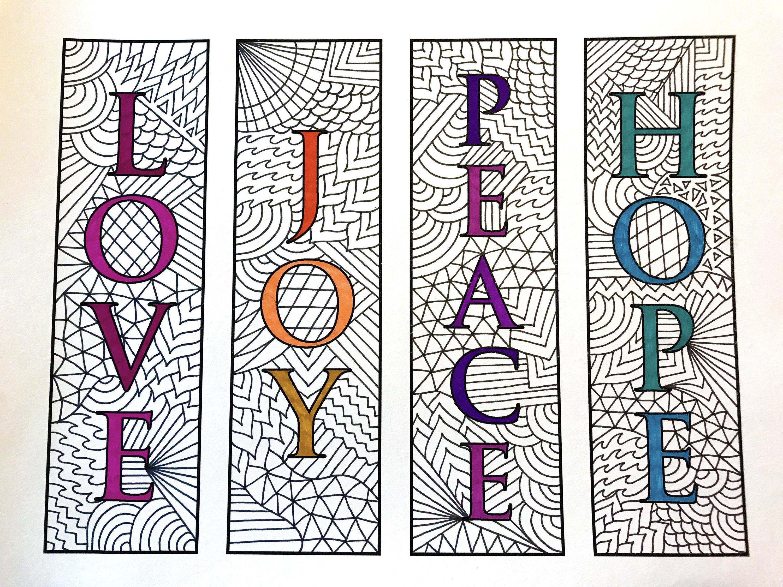 Love Joy Peace Hope Bookmarks Pdf Zentangle Coloring Page Malarbok Bokmarken Skolaktiviteter