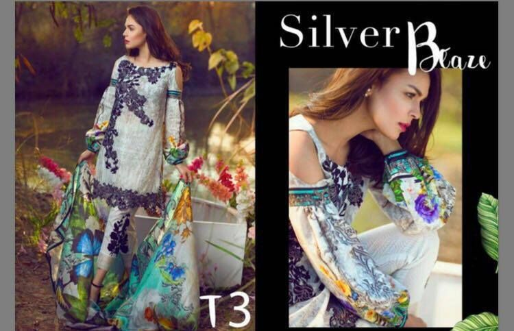 #Womens #Fashion #Pakistani #Designer #Suits #Haute #Couture for #work -#White Shirt #White #Bottom #Embroidered  #premium lawn #suits #with #chiffon #dupattas.