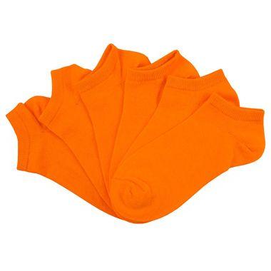Florescent Orange Solid Color No Show 6 Pair Pack