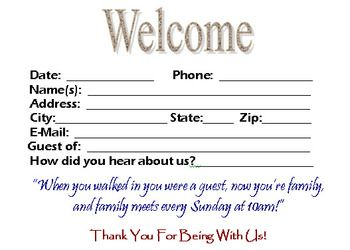 Visitor Card Template You Can Customize Church Visitor Packet Welcome Card Church Bulletin