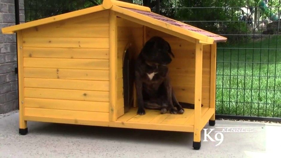 Alluring Natural Finish Wood Dog House Design With Small Terrace
