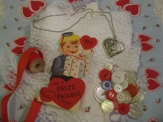 Vintage Hearts Valentine Hankerchief and Other by memorimakers, $5.95