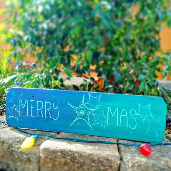 Merry Christmas beach sign on wood with starfish by LuckiiArts all