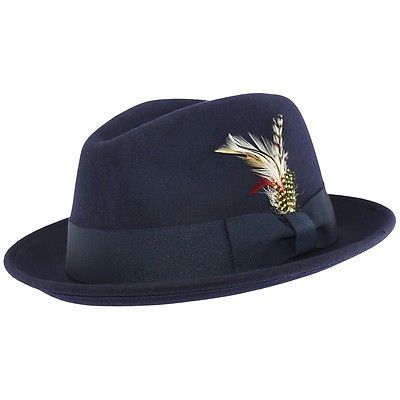 Mens Navy C-Crown Crushable Fedora Wool Felt Hat with Feather  dc1267cb684d