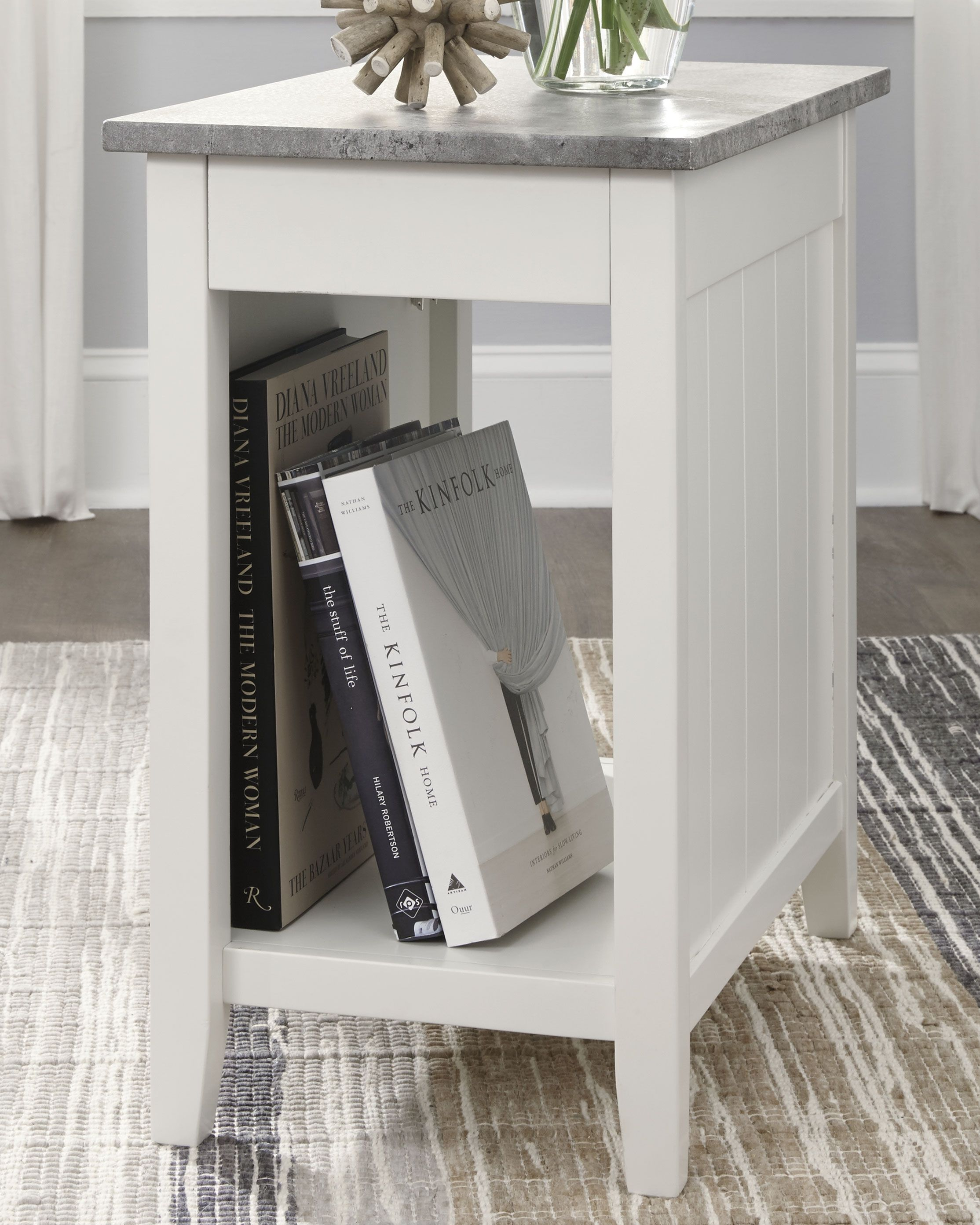 Diamenton Chairside End Table With Usb Ports Outlets White
