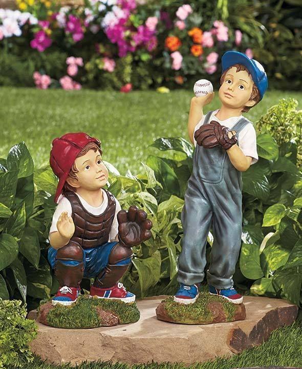 Outdoor Lawn Garden Patio Sculpture Yard Flower Bed Baseball Figurine Statue Art Garden Statues Lawn Ornament Baseball Players