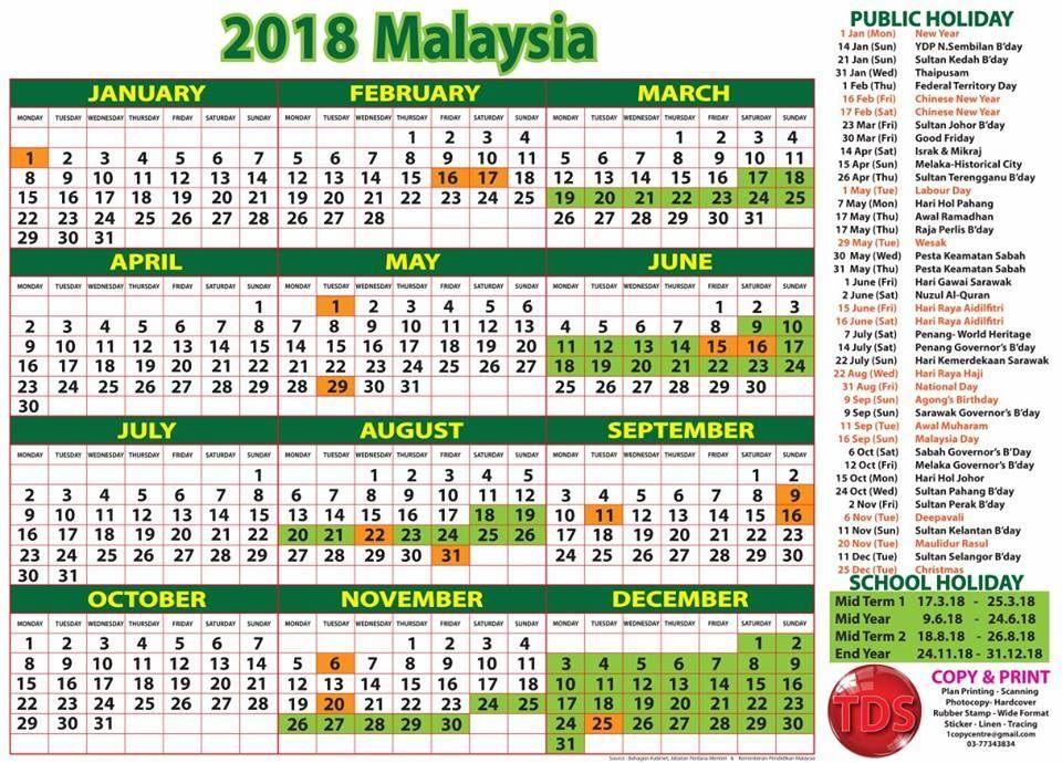 Tarikh Cuti Umum 2018 Malaysia Public Holidays Calendar Malaysia Calendar 2018