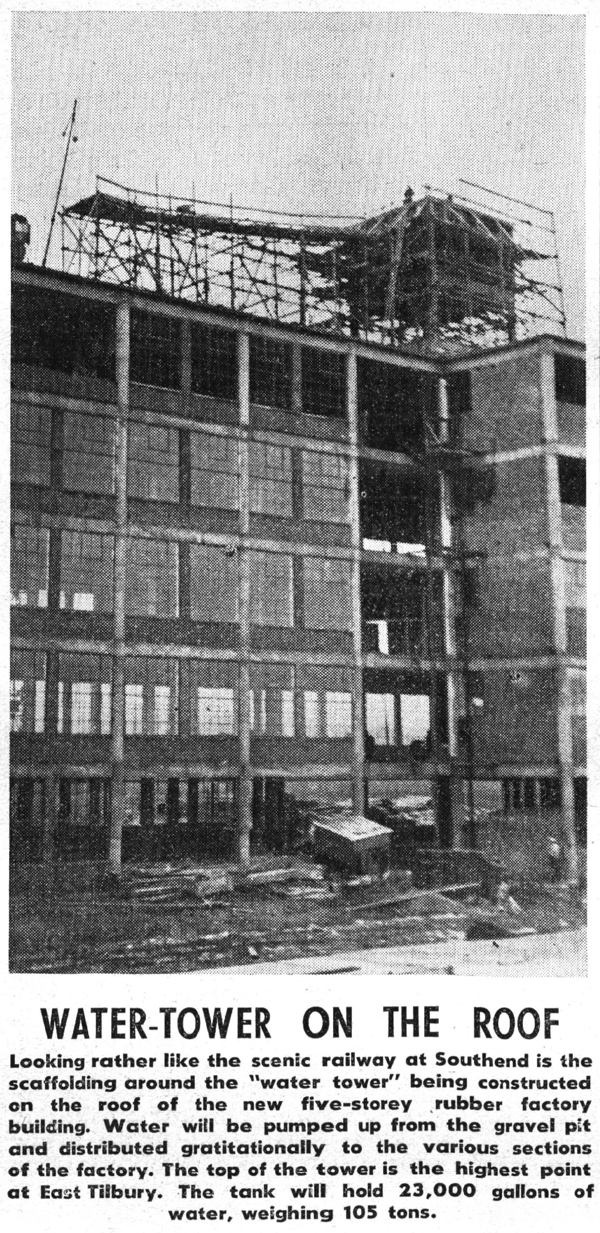 Bata Factory East Tilbury Rubber Factory Building 34 Water Tower Under  Construction Feb 3rd 1939,