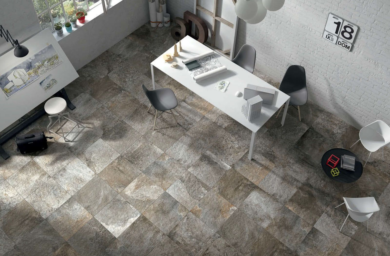 Home office space with des alpes tile from ceramiche settecento