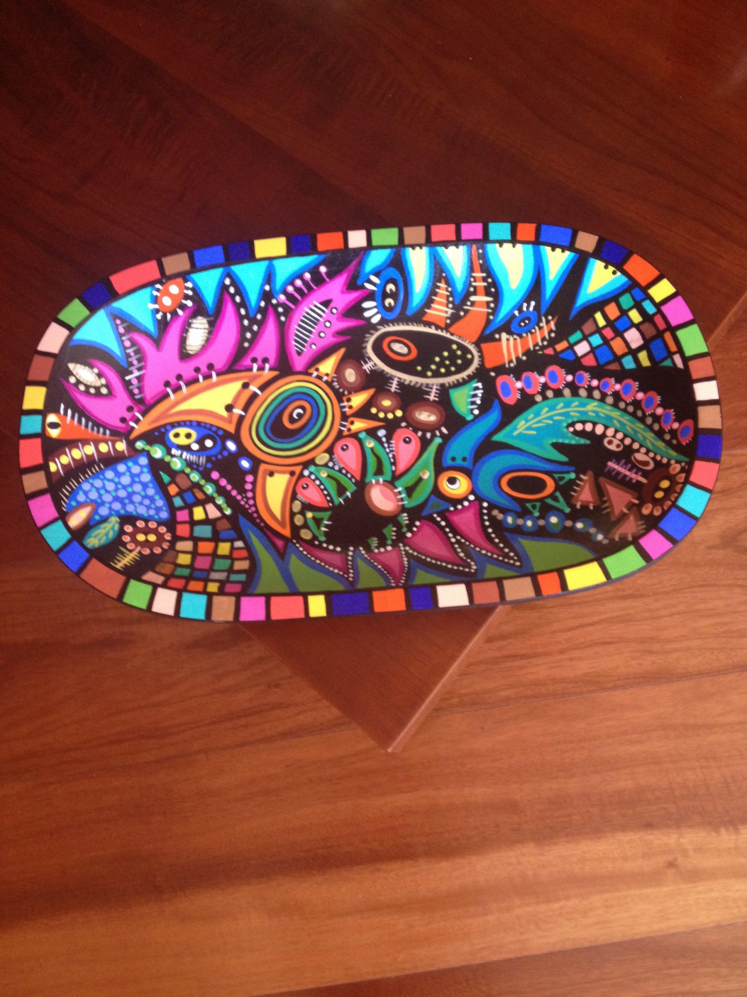 Batea pintada a mano bstea pinterest artesan a - Como pintar azulejos a mano ...