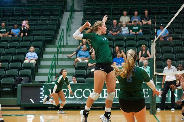 Tulane Volleyball Player Gets Ready To Spike To Ball To An Opponent