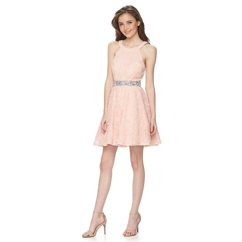 19e230d45 Juniors' Trixxi Soutache Halter Dress, Kids Unisex, Size: 13, Light Pink