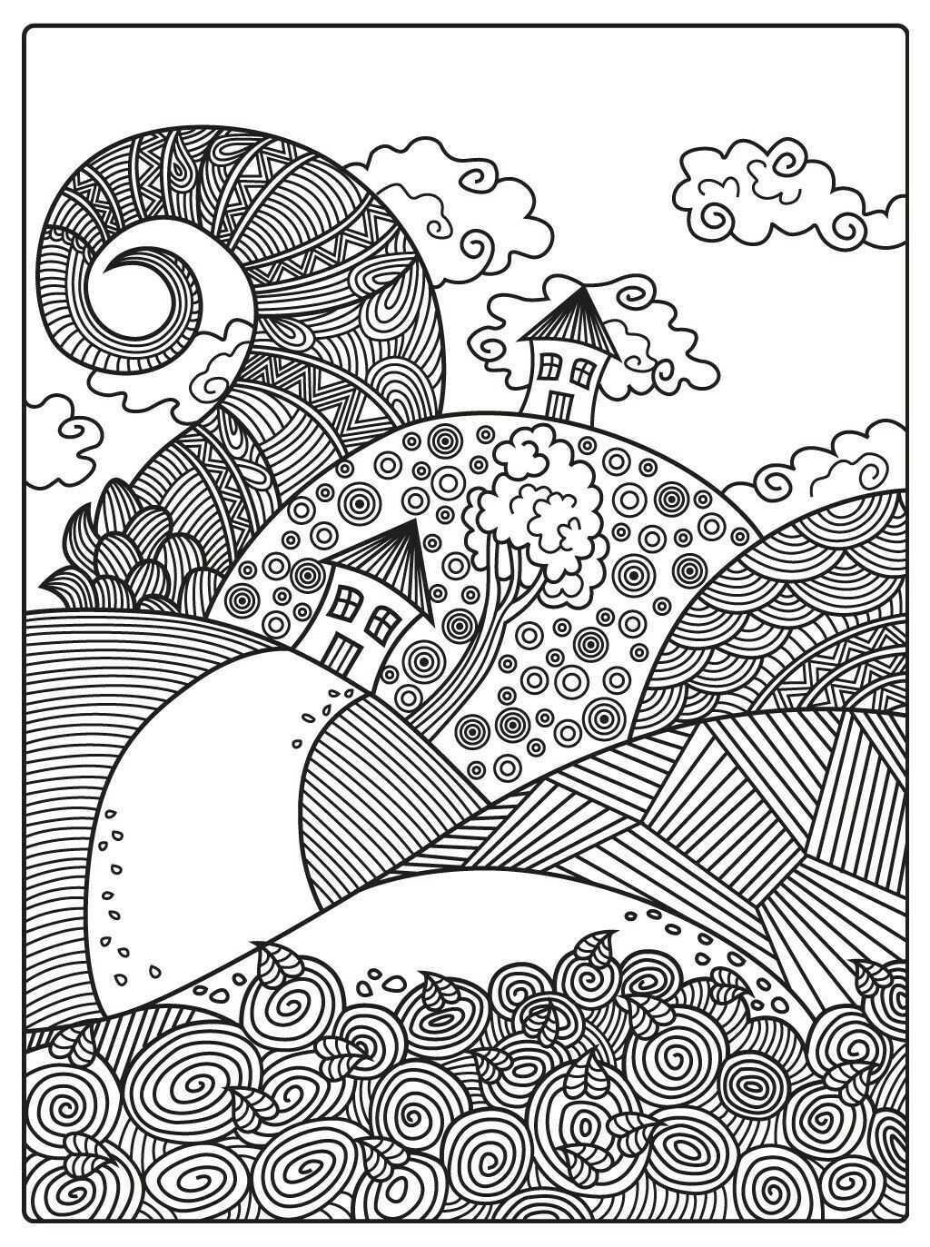 Pin By Ella On Antystresowe Kolorowanki Domki Whimsical Art Colouring Pages Coloring Pages