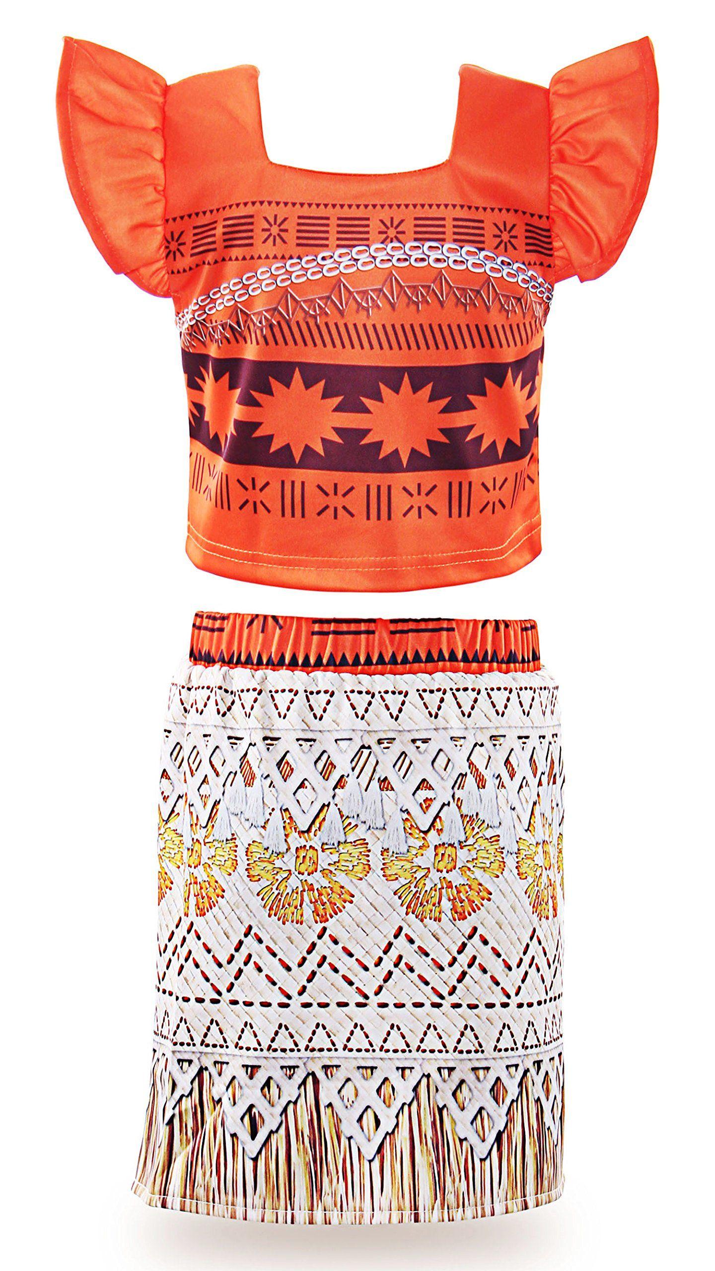 JerrisApparel Princess Moana Costume Two-Piece Skirt Set Dress Up for Girls 2T,