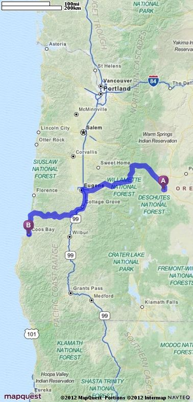 Driving Directions from Bend, Oregon to Coos Bay, Oregon | MapQuest ...