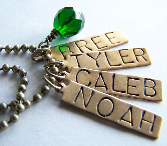 PICK FIVE Charm Bead OR Stamped Name Tag Plus a Chain by BusyBree, $24.00