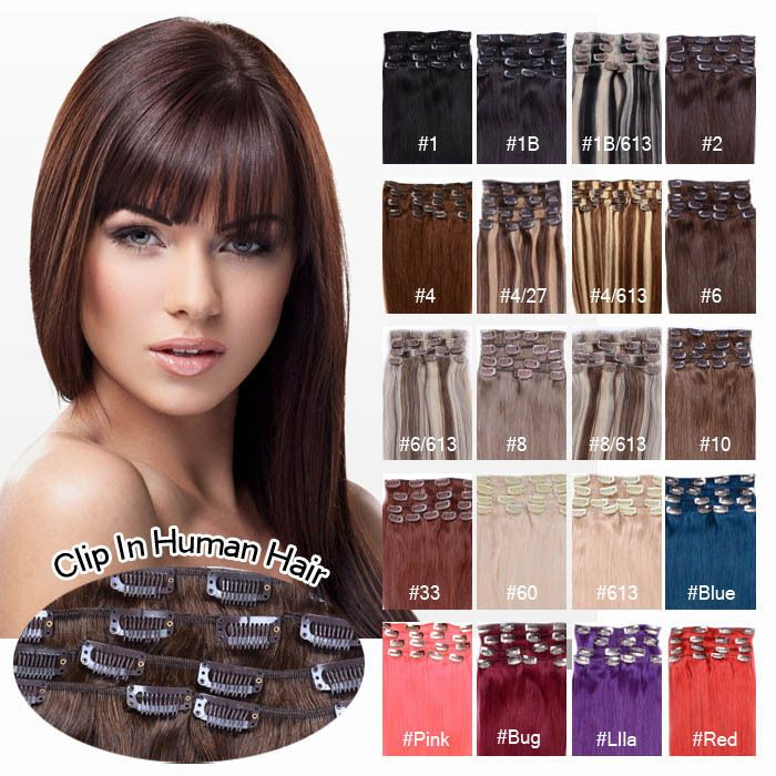 Any Colour Virgin 100real Clip In Remy Human Hair Extensions Clip