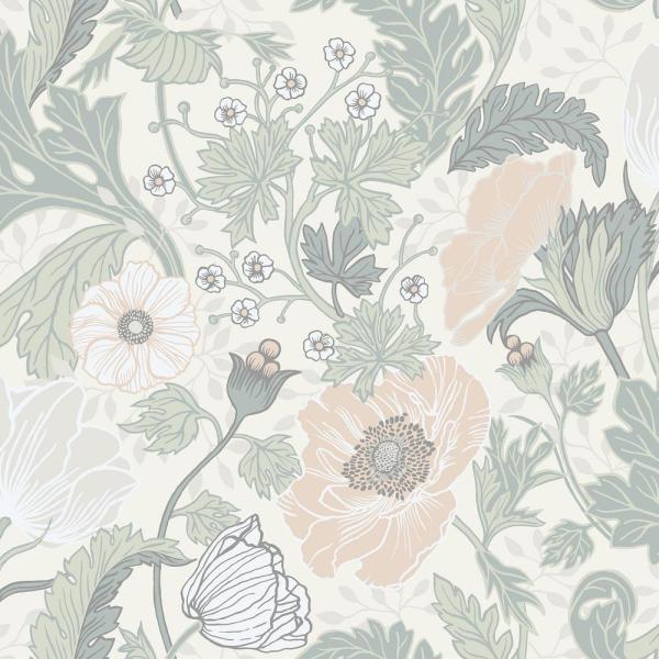 A Street Anemone Light Grey Floral Wallpaper Grey Floral