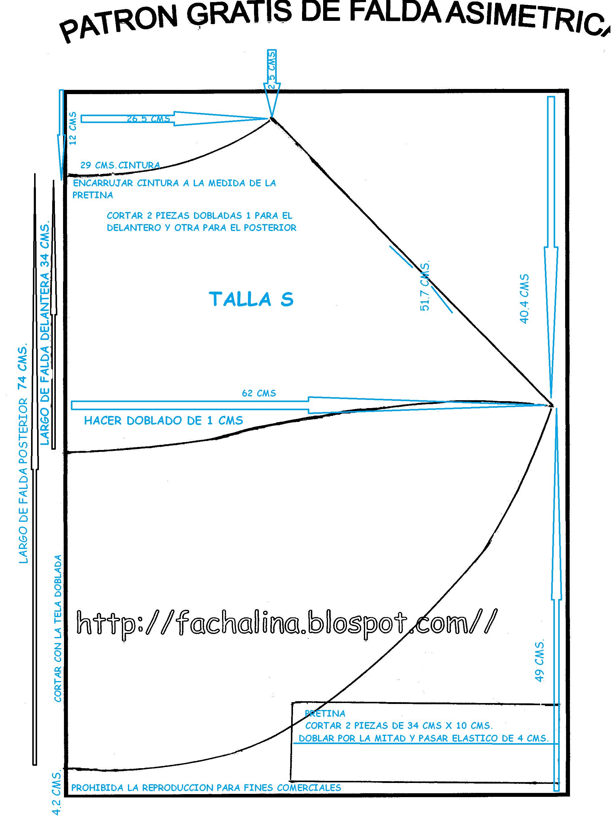 111c71ab0 Patrón gratis DE FALDA ASIMETRICA
