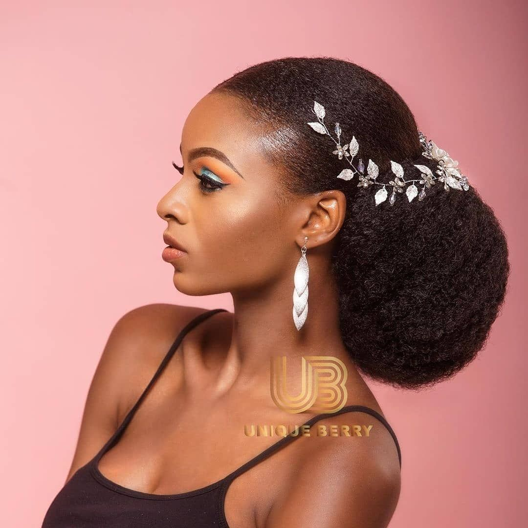 Natural Black Bride On Instagram Jumbo Bun By Uniqueberryhairs Please Visit Their Natural Wedding Hairstyles Natural Hair Bride Natural Hair Styles