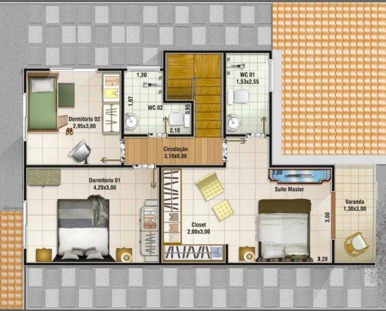 Plano de vivienda de dos plantas y 3 dormitorios planos Viviendas modernas de dos plantas