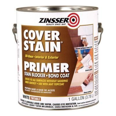 Zinsser Cover Stain 1 Gal White Oil Based Interior Exterior Primer And Sealer 3501 The Home Depot Cover Stains Painting Laminate Laminate Furniture