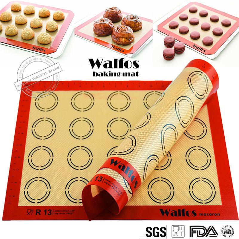 WALFOS 비 스틱 실리콘 베이킹 매트 패드 silpat 베이킹 시트 유리 섬유 롤링 반죽 매트, 대형 케이크 쿠키 마카롱