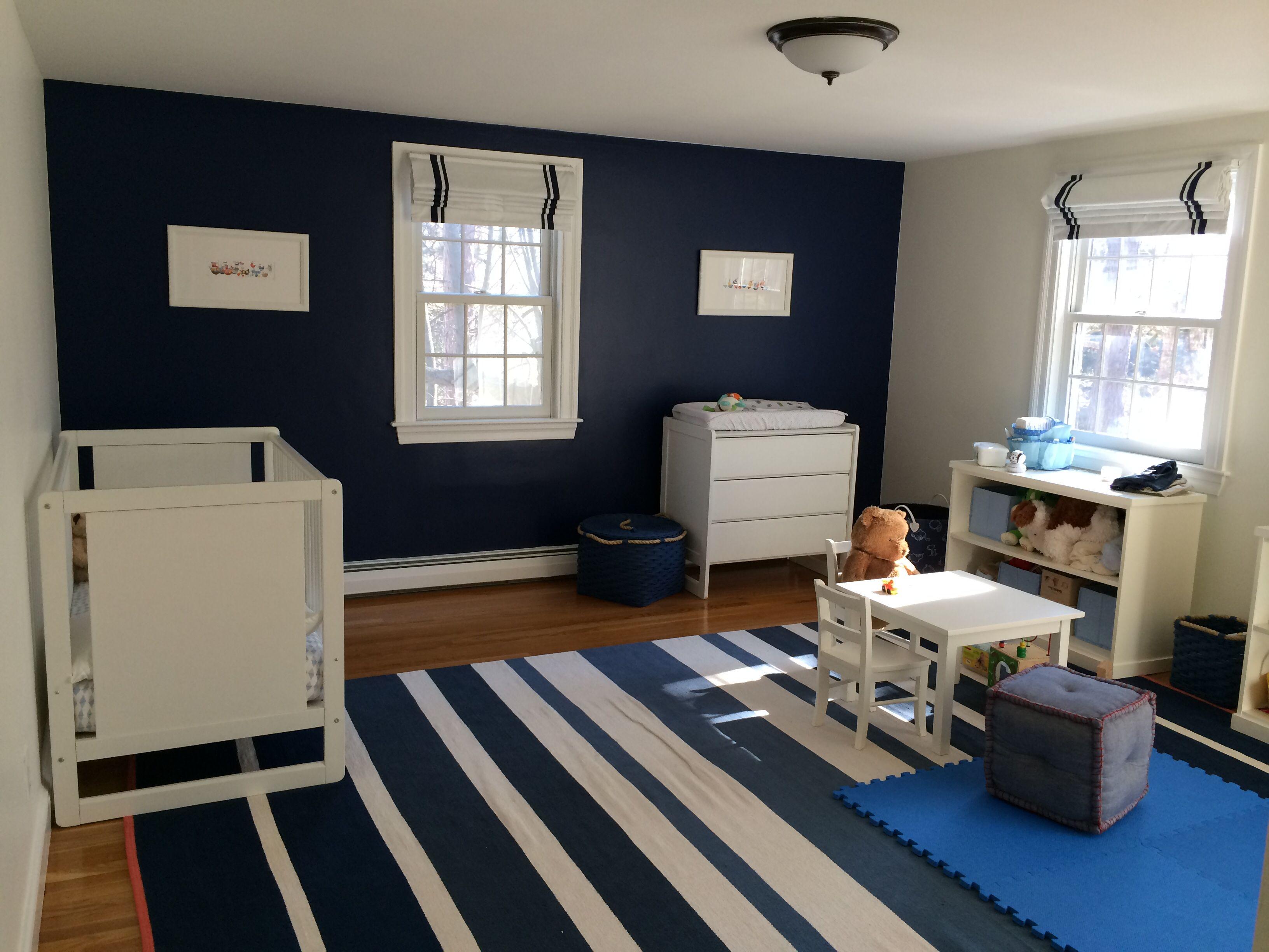 Final picks Benjamin Moore Bold Blue walls West Elm rug