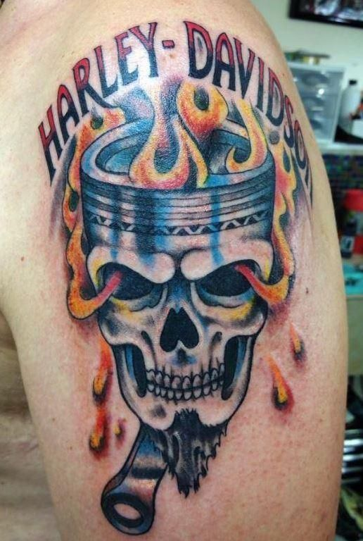 Full color custom harley piston tattoo by tiffany tattoo for Full custom tattoo