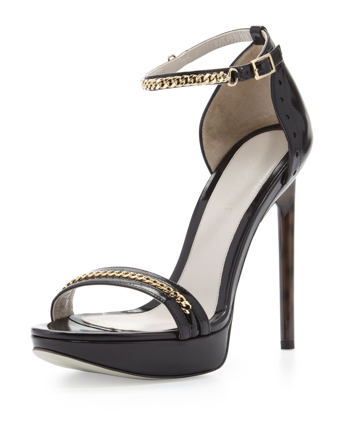Jason Wu Platform Sandal with Chain Trim Black in Black | Lyst