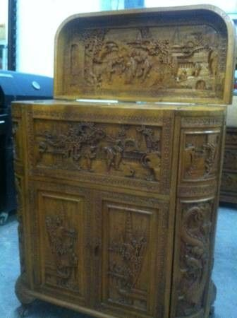 Antique hand carved asian cocktail cabinet  450